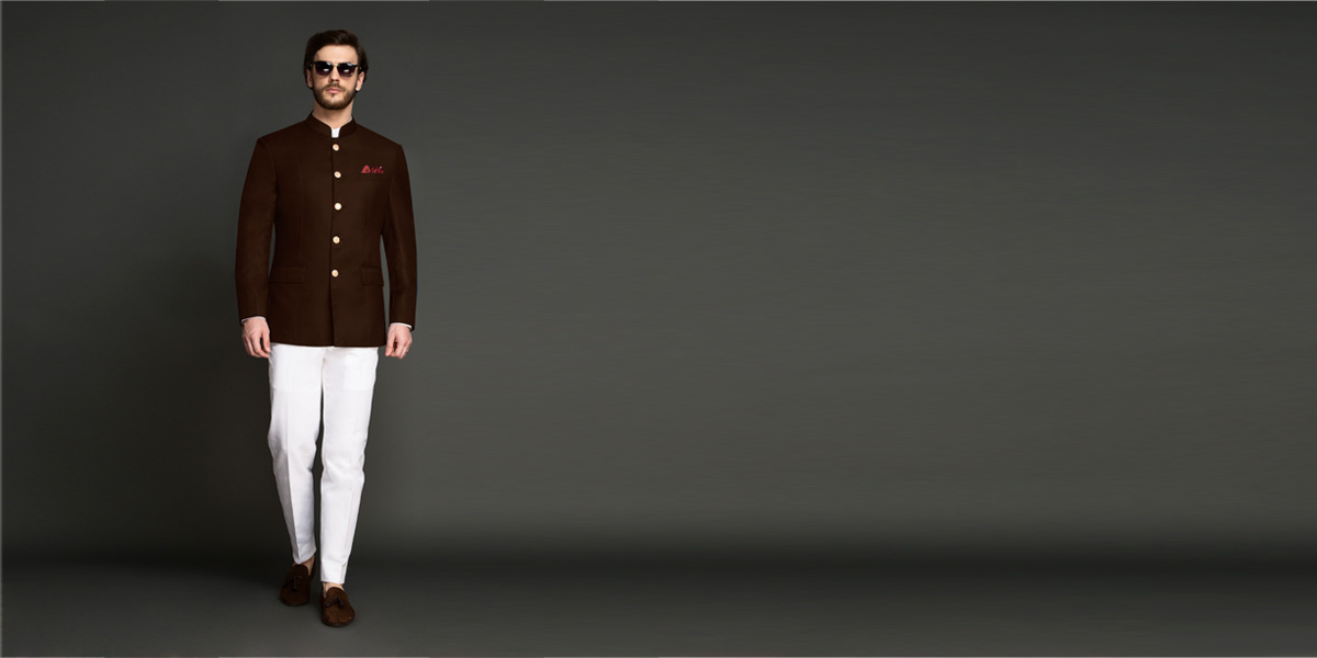 Regal Slate Brown Jodhpuri Suit- view-1