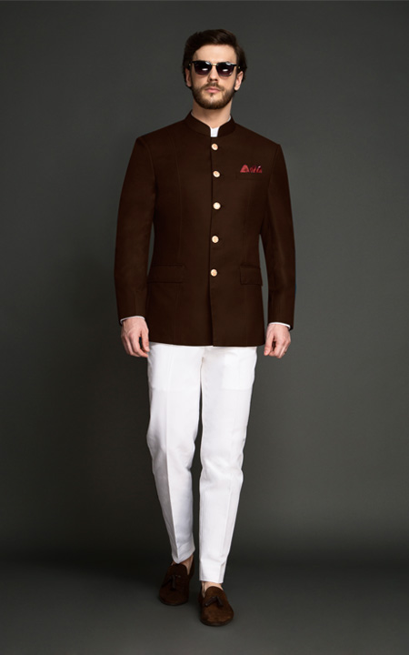 Regal Slate Brown Jodhpuri Suit