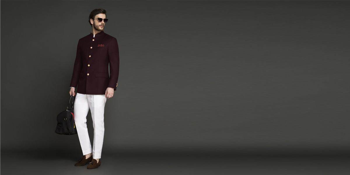 Signature Burgundy Jodhpuri Suit- view-1