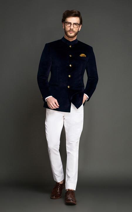 Washington Black Velvet Jodhpuri Suit