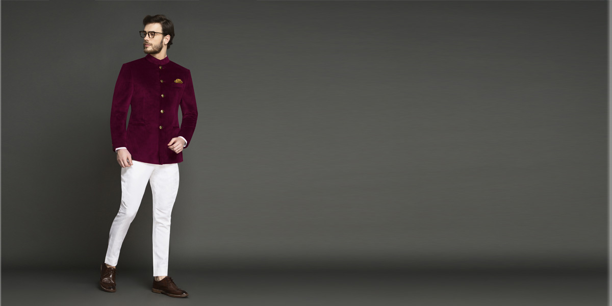 Signature Maroon Velvet Jodhpuri Suit- view-1