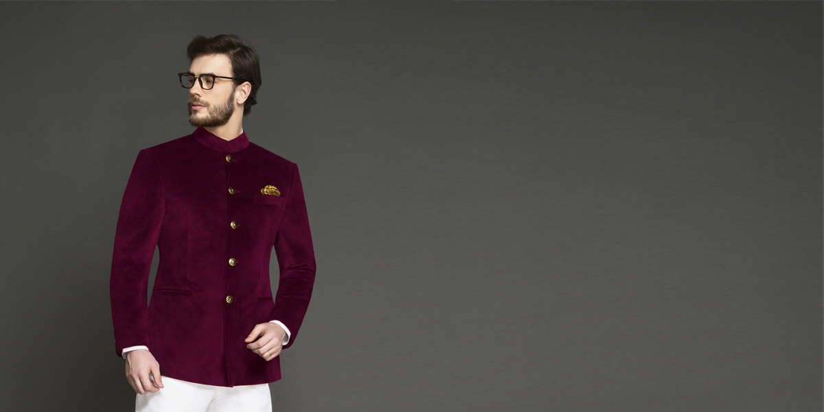 Signature Maroon Velvet Jodhpuri Suit- view-3