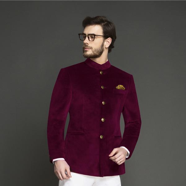 Signature Maroon Velvet Jodhpuri Suit-mbview-3