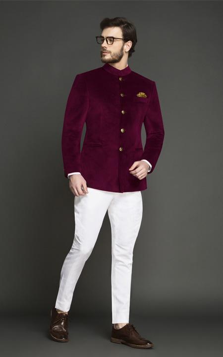Signature Maroon Velvet Jodhpuri Suit