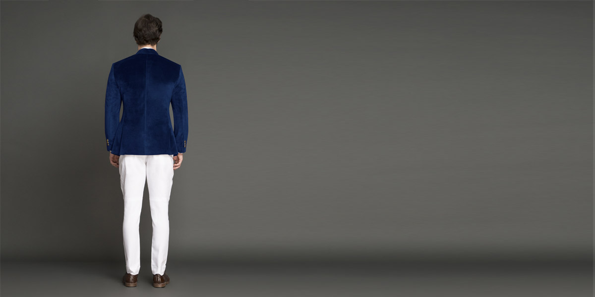 Turkish Blue Velvet Jodhpuri Suit- view-2