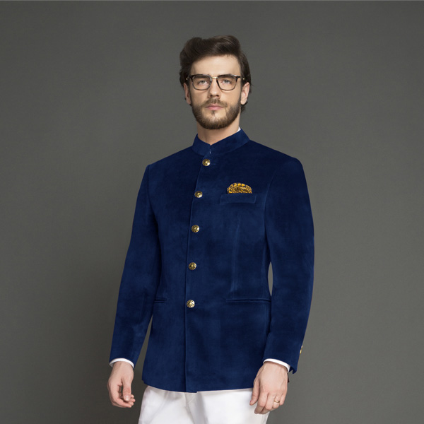 Turkish Blue Velvet Jodhpuri Suit-mbview-3