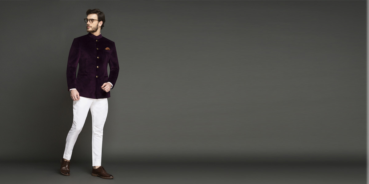 Regal Wine Velvet Jodhpuri Suit- view-1