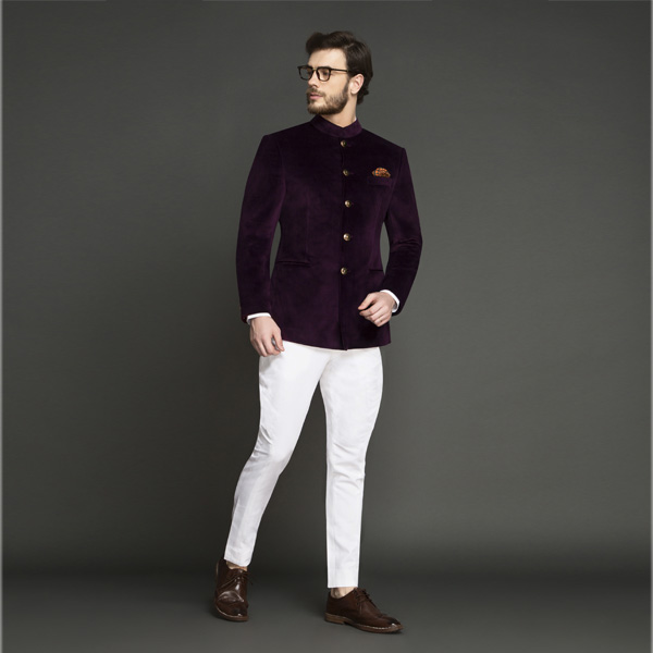 49d1d9cbf9 Regal Wine Velvet Jodhpuri Suit | Custom Made by A.I.