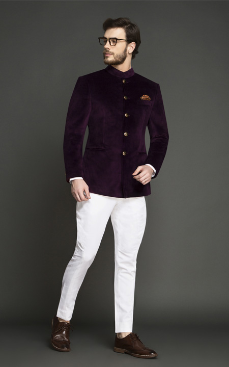 Regal Wine Velvet Jodhpuri Suit