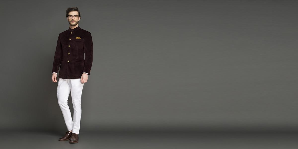 Statesman Burgundy Velvet Jodhpuri Suit- view-1