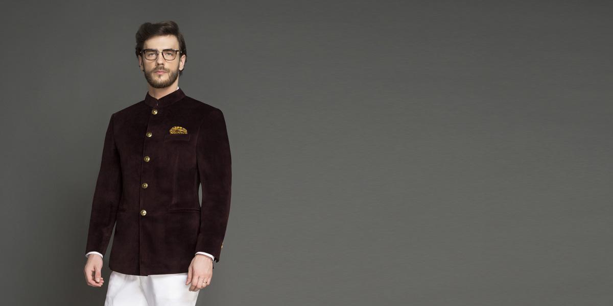 Statesman Burgundy Velvet Jodhpuri Suit- view-2