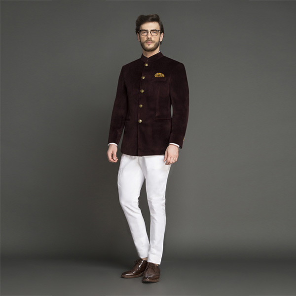Statesman Burgundy Velvet Jodhpuri Suit-mbview-1