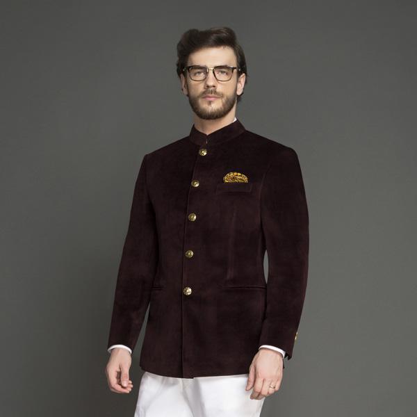 Statesman Burgundy Velvet Jodhpuri Suit-mbview-3