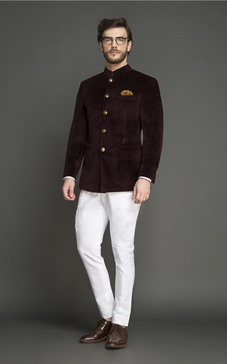 Statesman Burgundy Velvet Jodhpuri Suit