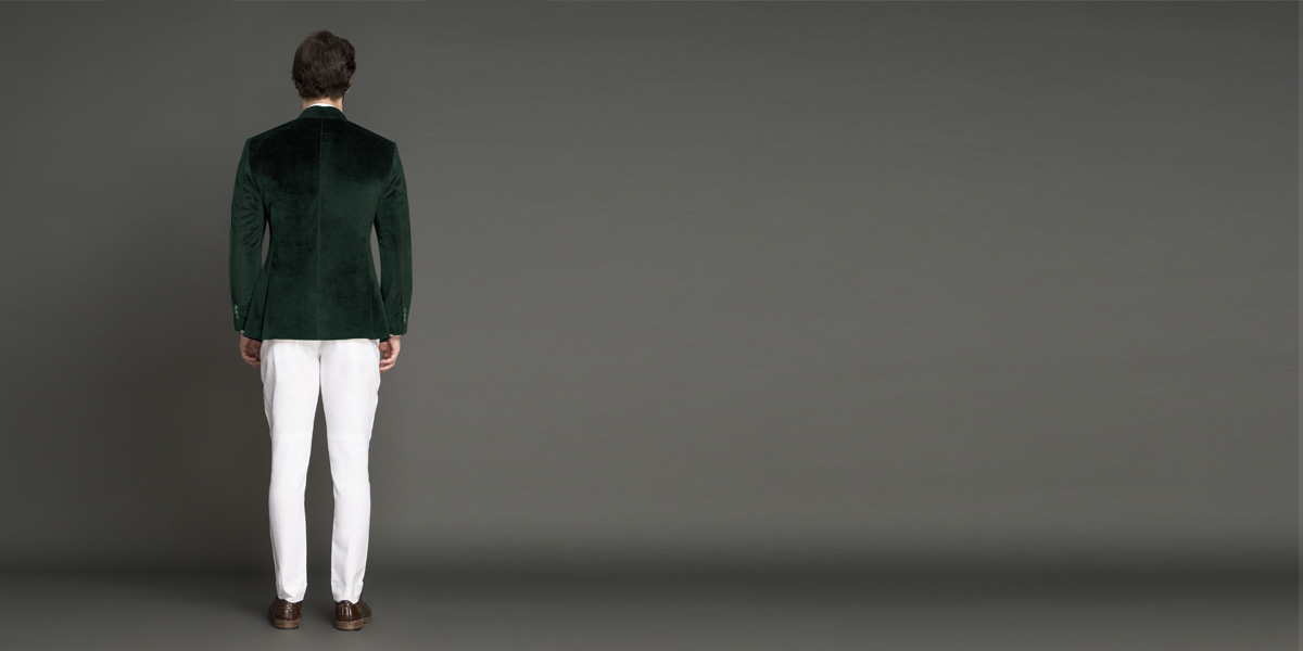 Emerald Green Velvet Jodhpuri Suit- view-2