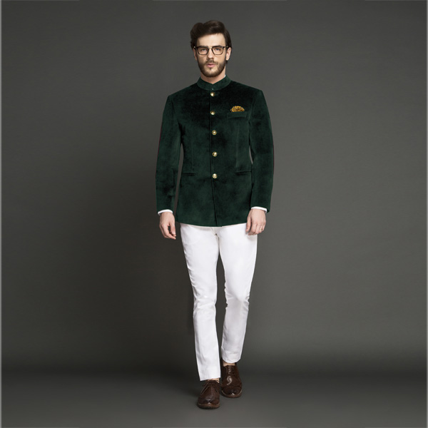 Emerald Green Velvet Jodhpuri Suit-mbview-1
