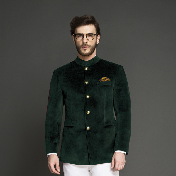 Emerald Green Velvet Jodhpuri Suit-mbview-3