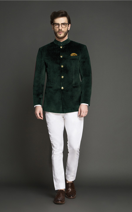 Emerald Green Velvet Jodhpuri Suit