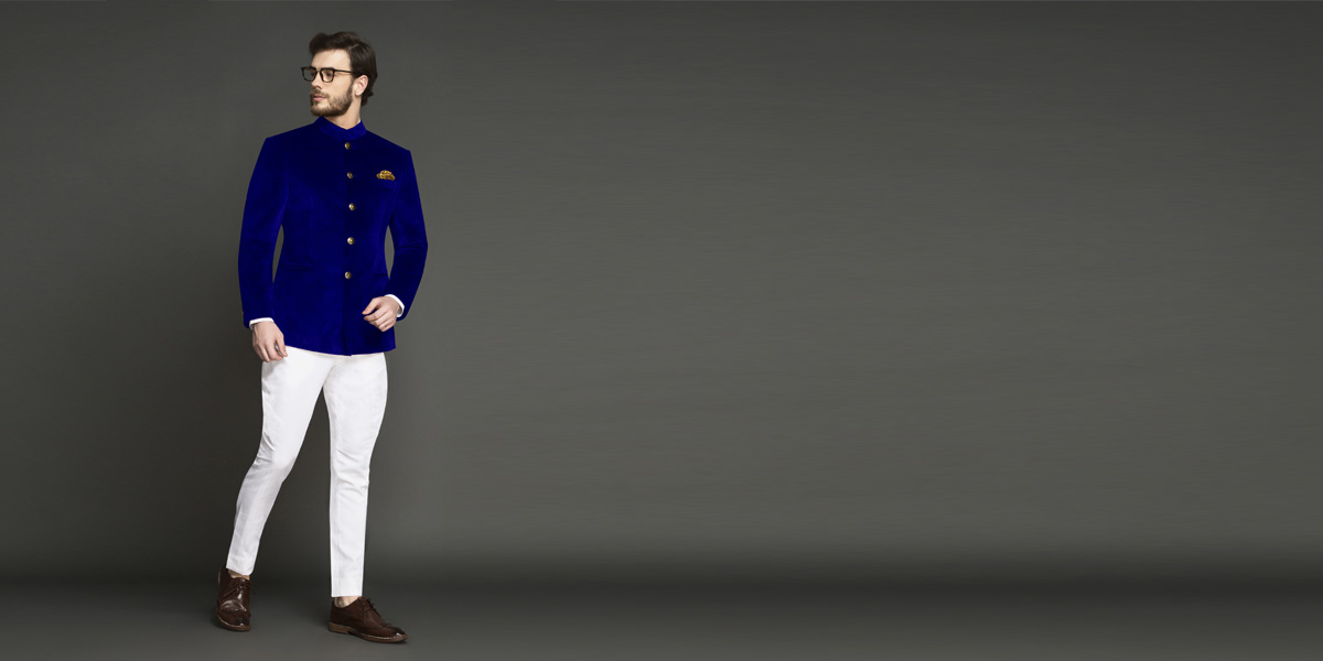 Stately Royal Blue Velvet Jodhpuri Suit- view-1