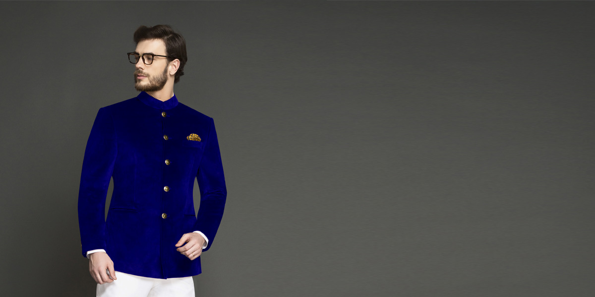 Stately Royal Blue Velvet Jodhpuri Suit- view-3