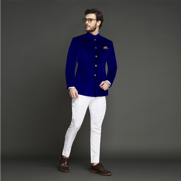 Stately Royal Blue Velvet Jodhpuri Suit-mbview-1