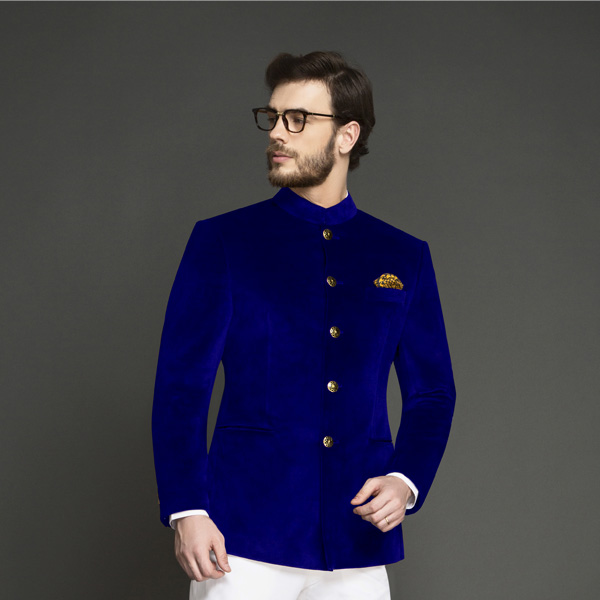 Stately Royal Blue Velvet Jodhpuri Suit-mbview-3