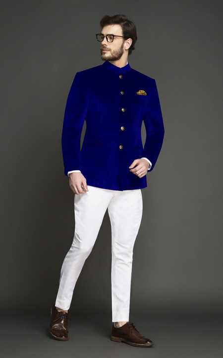 Stately Royal Blue Velvet Jodhpuri Suit