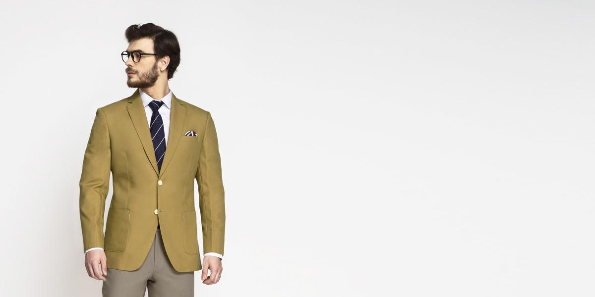 British Khaki Cotton Blazer- view-1