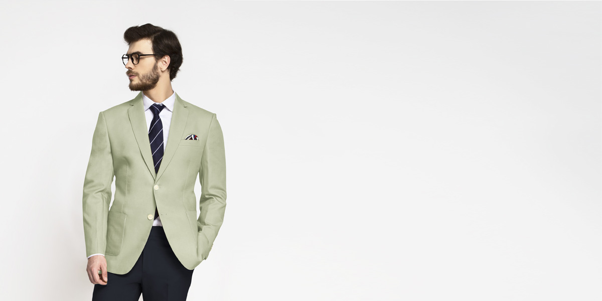 Sage Green Cotton Blazer- view-1