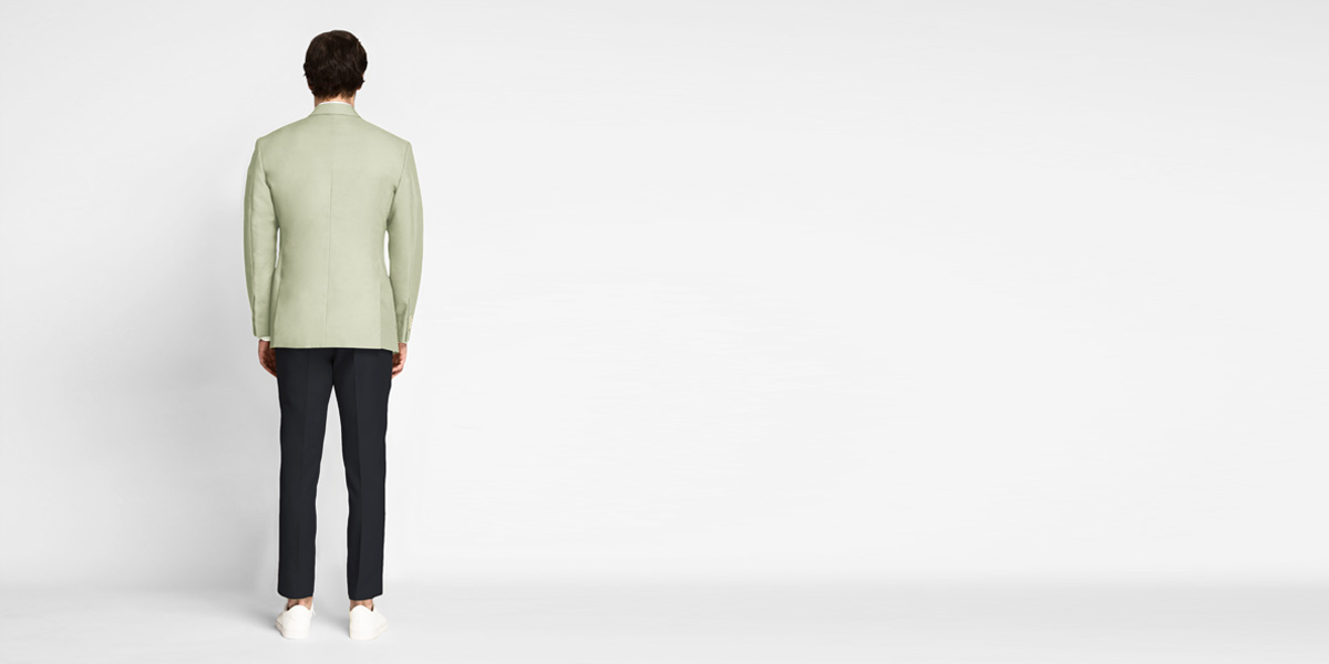 Sage Green Cotton Blazer- view-2