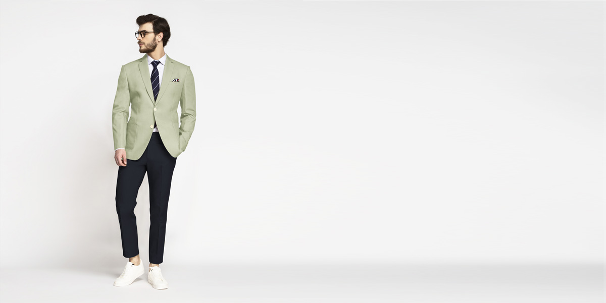Sage Green Cotton Blazer- view-3