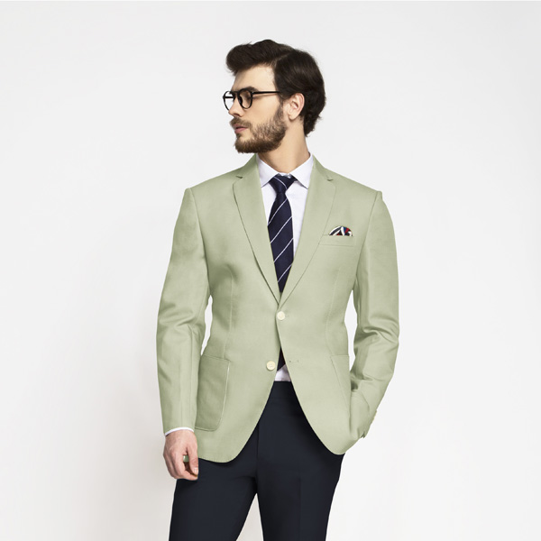 Sage Green Cotton Blazer-mbview-1