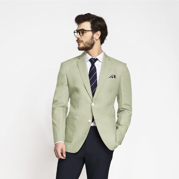 Sage Green Cotton Blazer-mbview-main