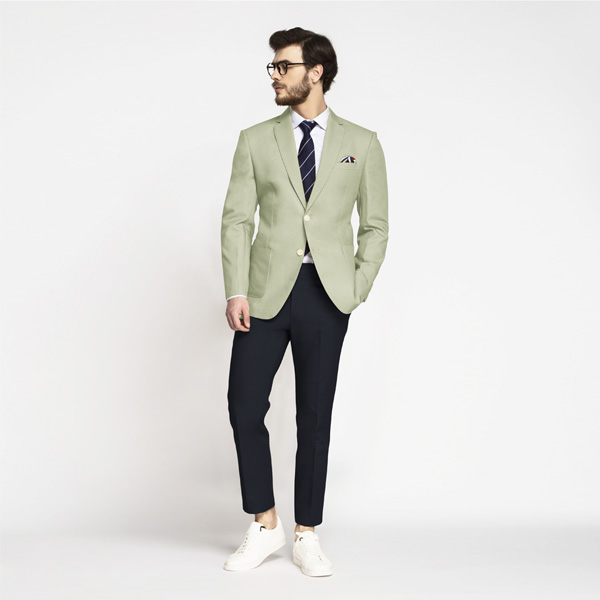 Sage Green Cotton Blazer-mbview-3