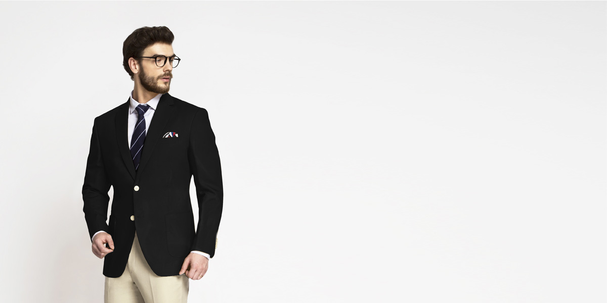 Boston Black Cotton Blazer- view-1