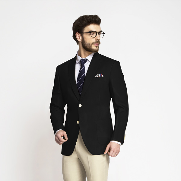 Boston Black Cotton Blazer-mbview-1