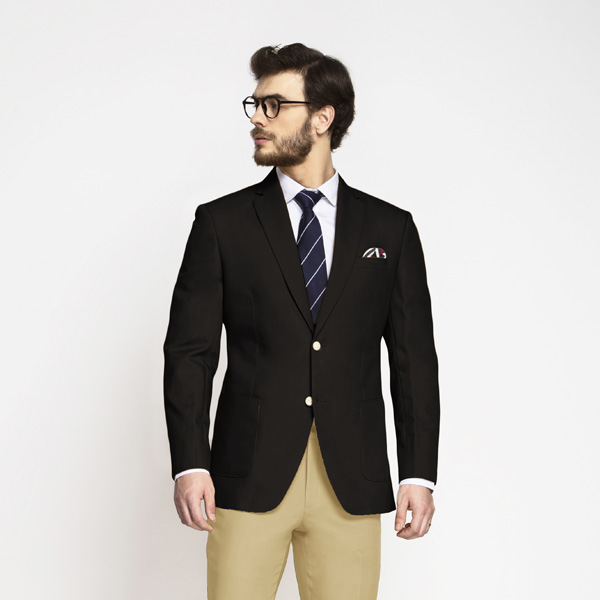 Brown Khaki Cotton Blazer-mbview-1