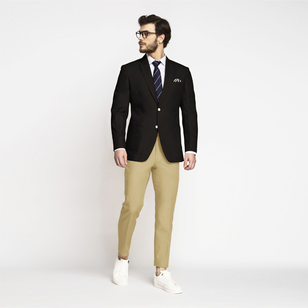 Brown Khaki Cotton Blazer-mbview-3