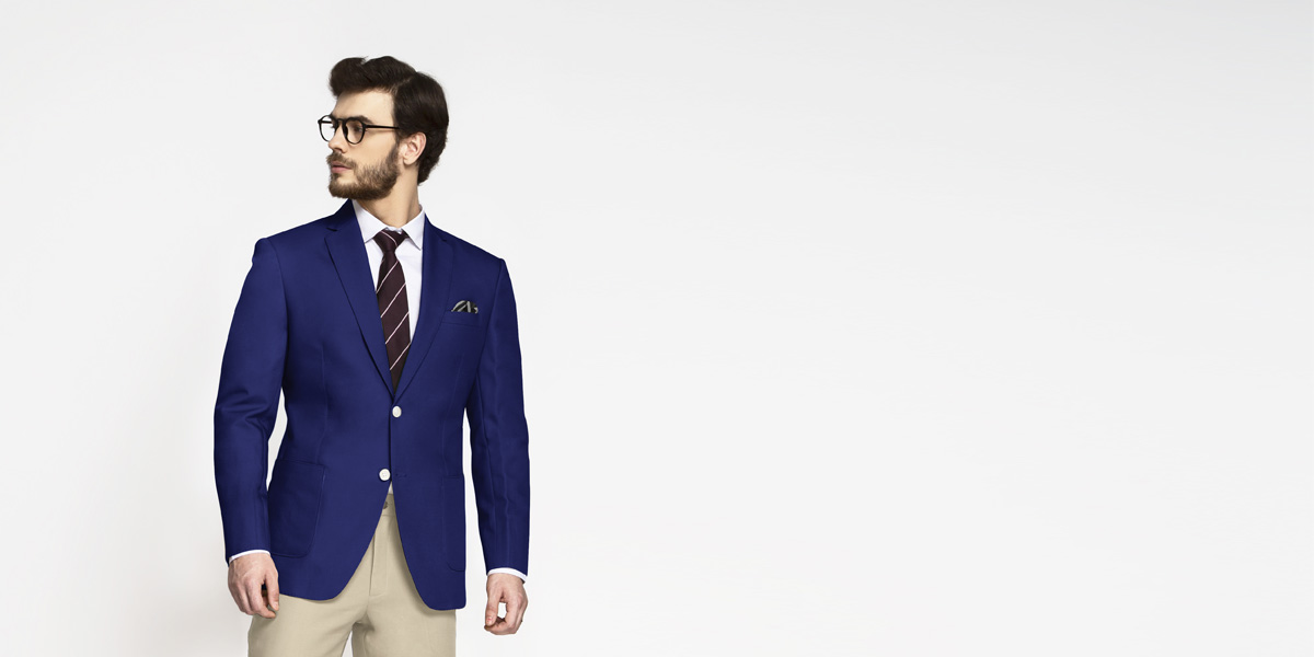 Royal Blue Cotton Blazer- view-1