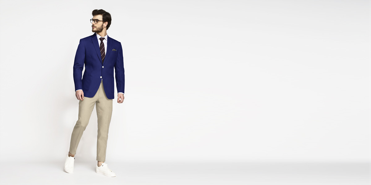 Royal Blue Cotton Blazer- view-3