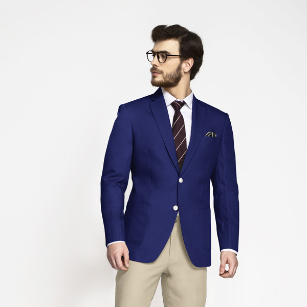 Royal Blue Cotton Blazer-mbview-1