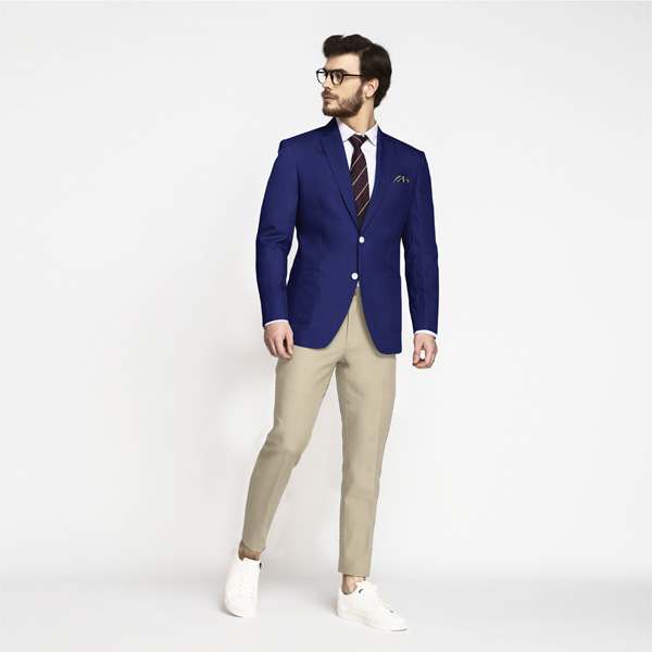 Royal Blue Cotton Blazer-mbview-3