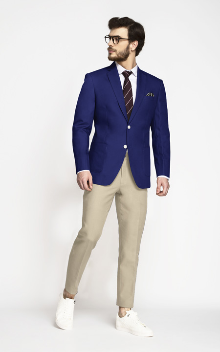 Royal Blue Cotton Blazer