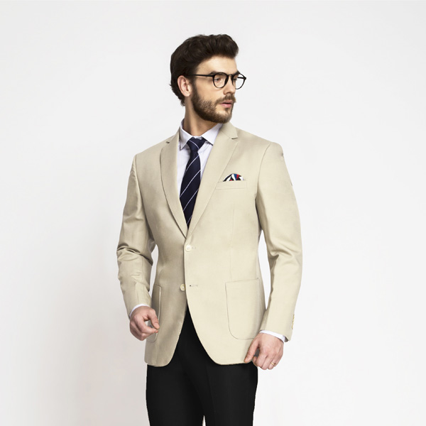 Pastel Cream Cotton Blazer-mbview-1