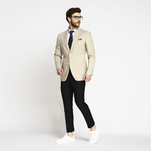 Pastel Cream Cotton Blazer-mbview-3