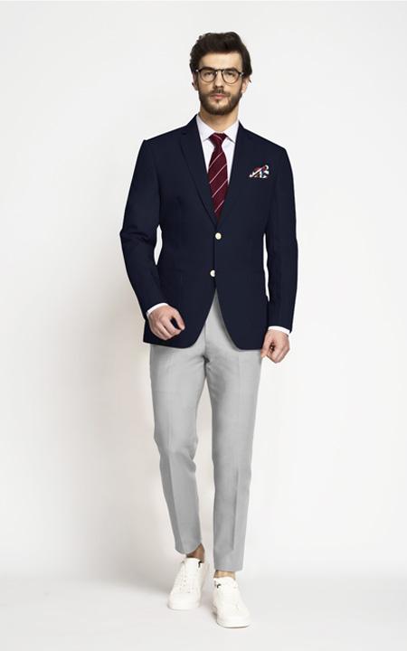 Classic Navy Blue Cotton Blazer