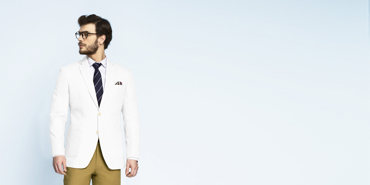 Napoli White Cotton Blazer- view-1