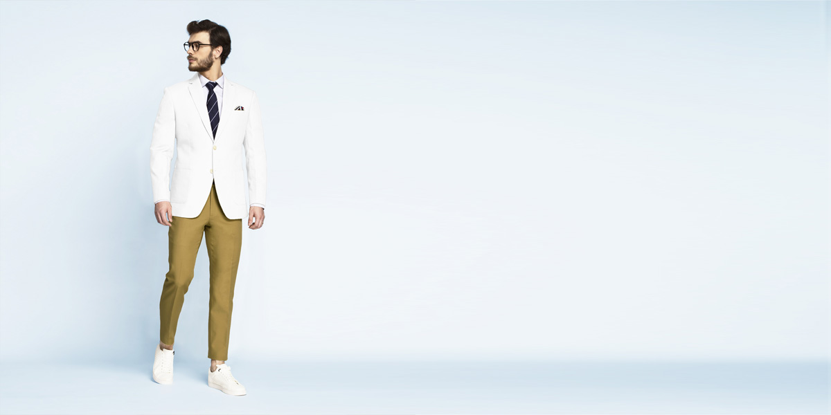 Napoli White Cotton Blazer- view-3