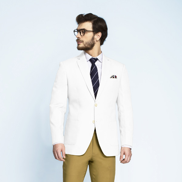 Napoli White Cotton Blazer-mbview-1