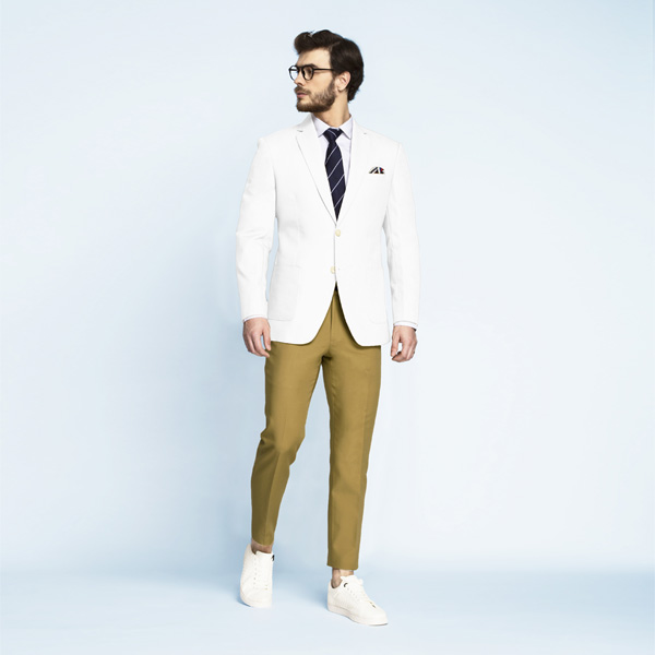 Napoli White Cotton Blazer-mbview-3